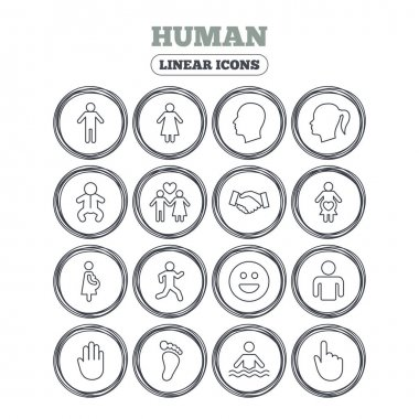 Human icons. Male and female symbols. Infant toddler and pregnant woman. Happy smile face. Success deal handshake. Circle flat buttons with linear icons. Vector clip art vector