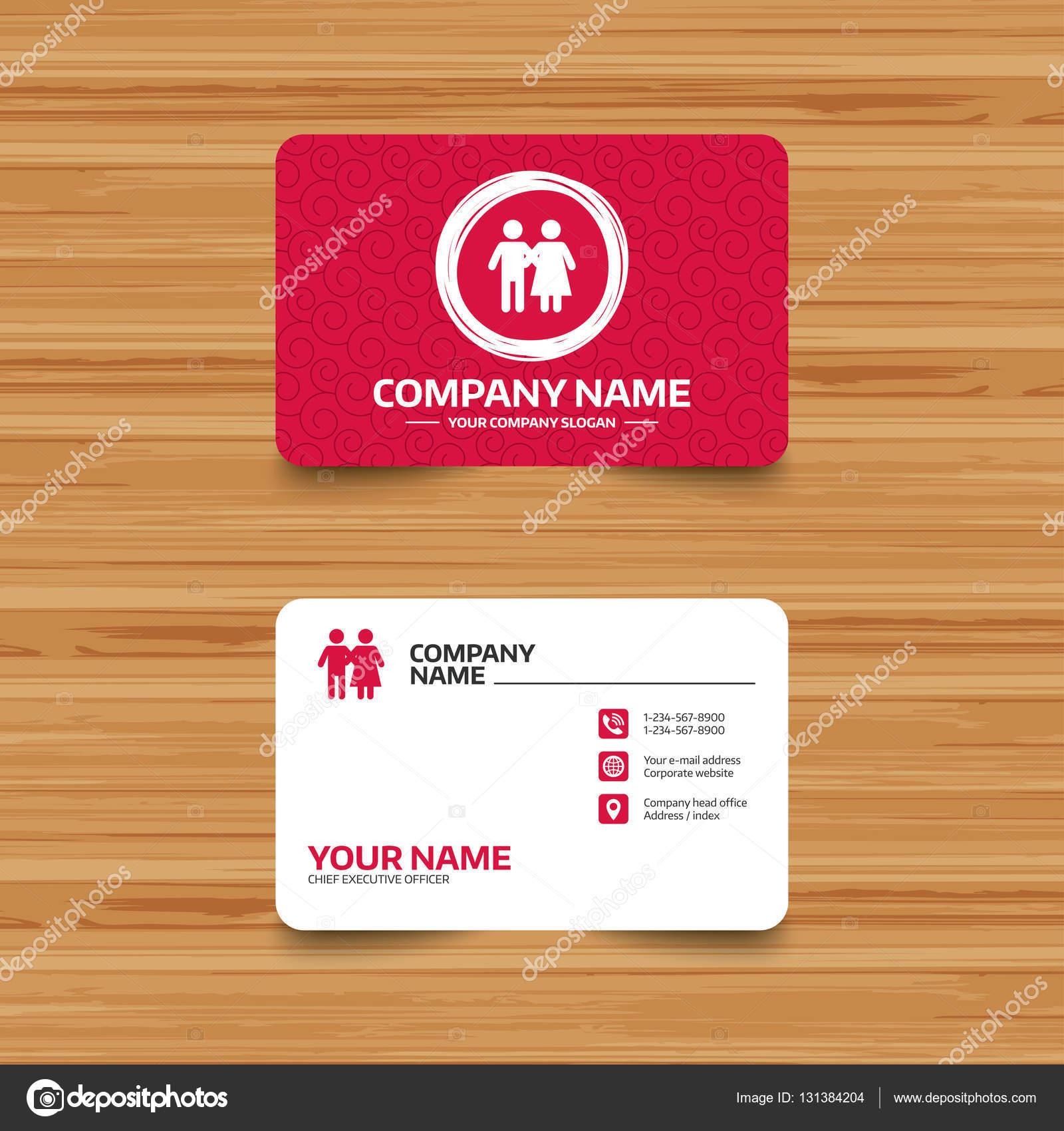 Modele De Carte Visite Avec Texture Icone Couple Jeune Famille Symbole Assurance Familiale Telephone Web Et Lemplacement Des Icones