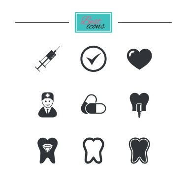 Tooth, dental care icons