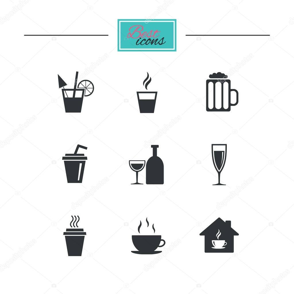 Drinks icons set