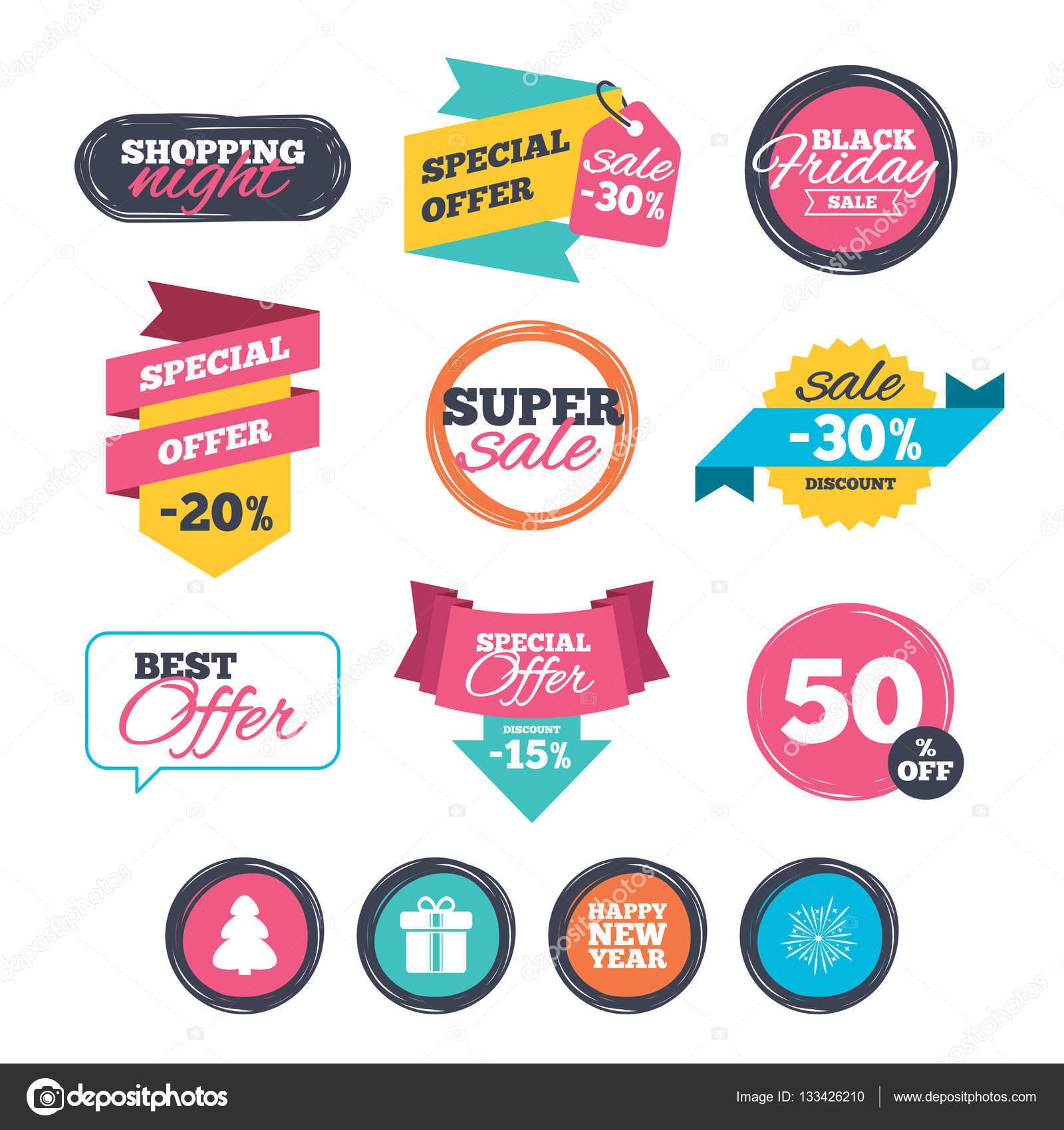 De Stickers Van De Verkoop Online Winkelen Gelukkig Nieuwjaar