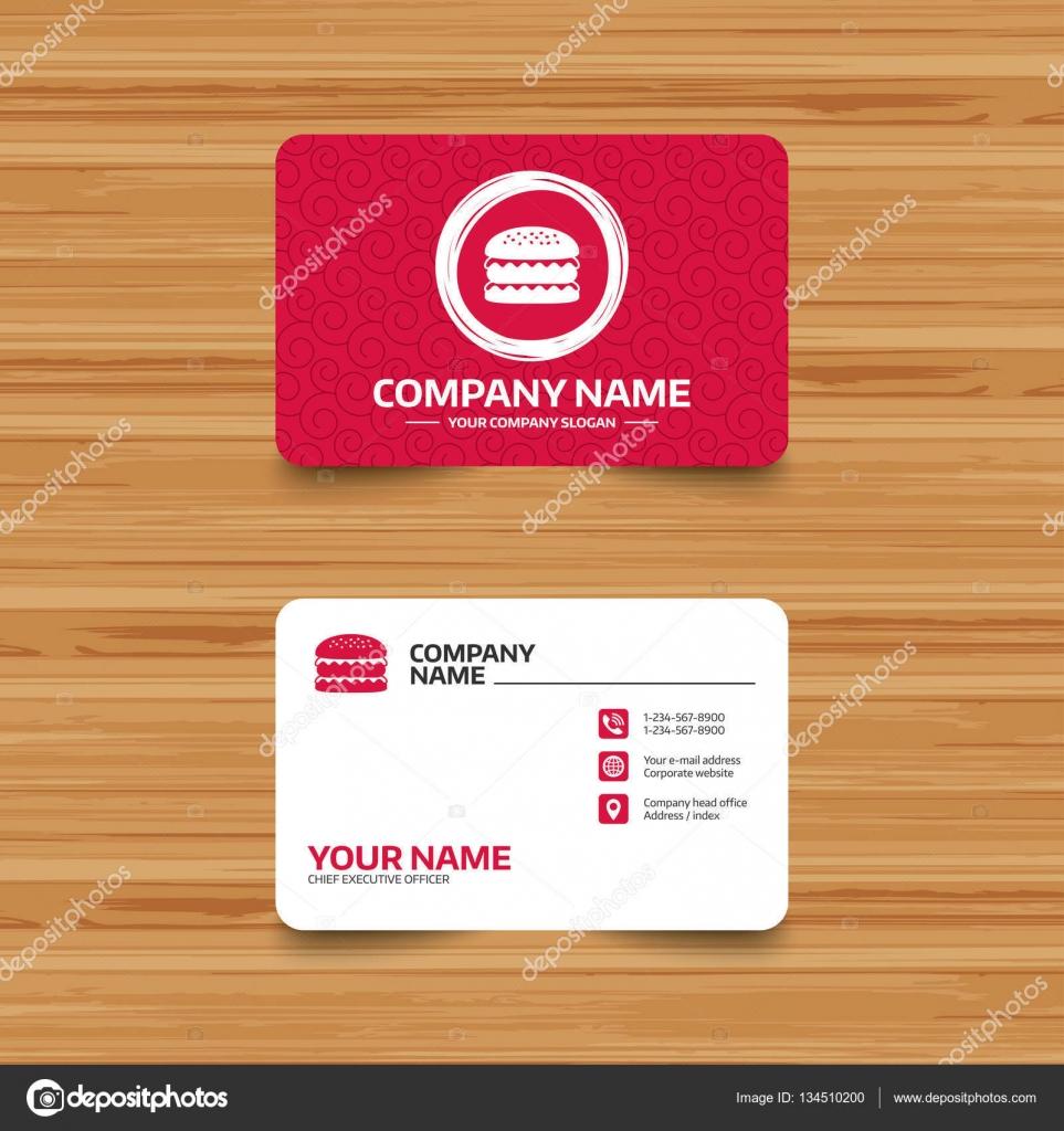 Fast food symbols stock vector blankstock 134510200 business card templates hamburger icons burger food symbols cheeseburger sandwich signs phone web and location icons visiting card set vector colourmoves