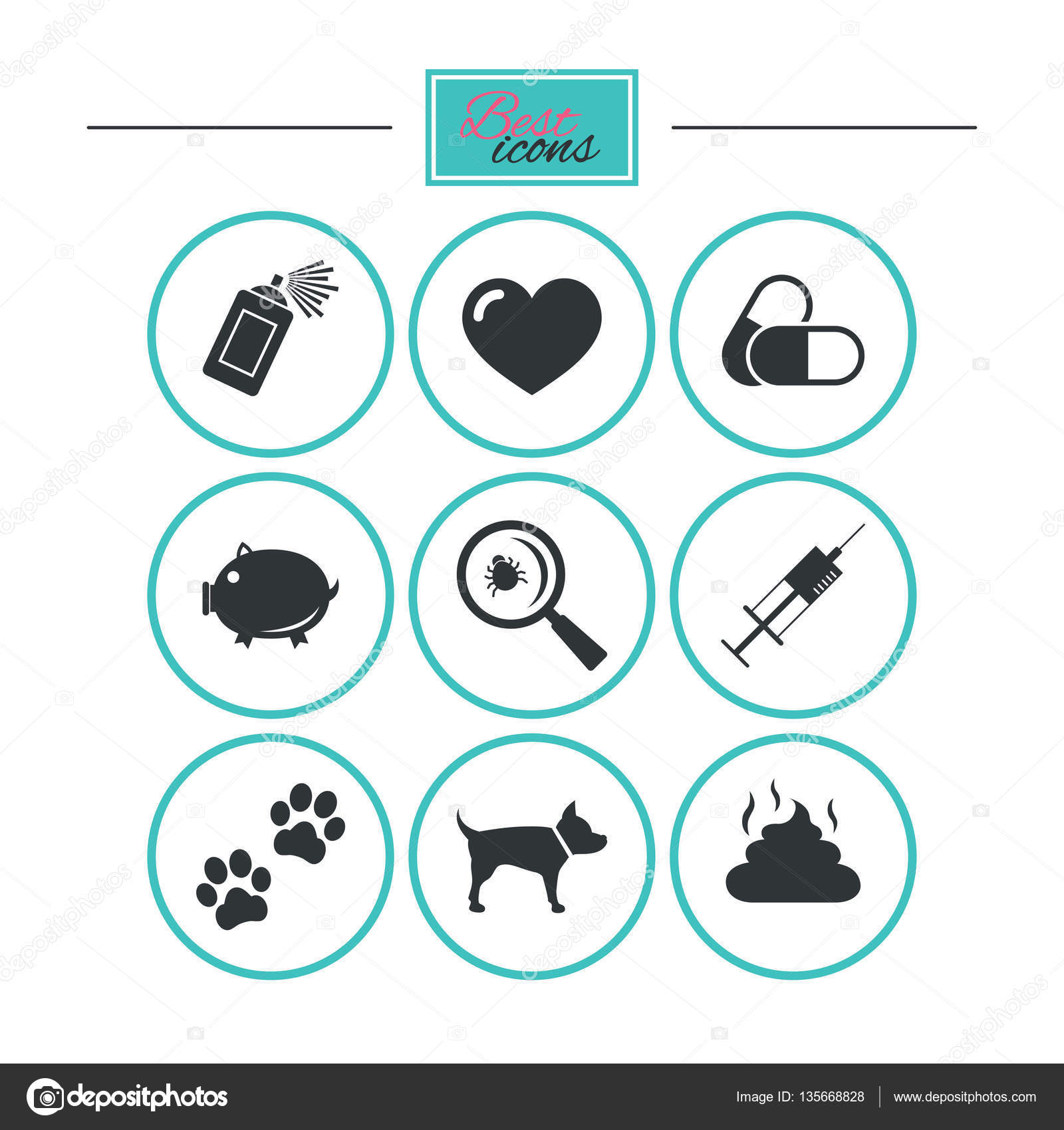 Veterinary pets icons dog paws syringe signs stock vector dog paws syringe and magnifier signs pills heart and feces symbols round flat buttons with icons vector vector by blankstock buycottarizona Image collections