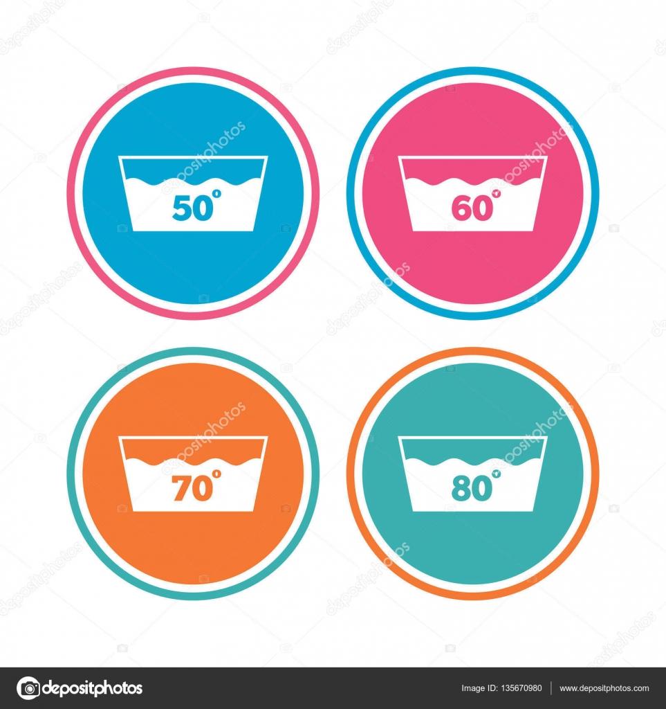 Lavare Le Icone Lavabile In Lavatrice A 60 Gradi Vettoriali Stock