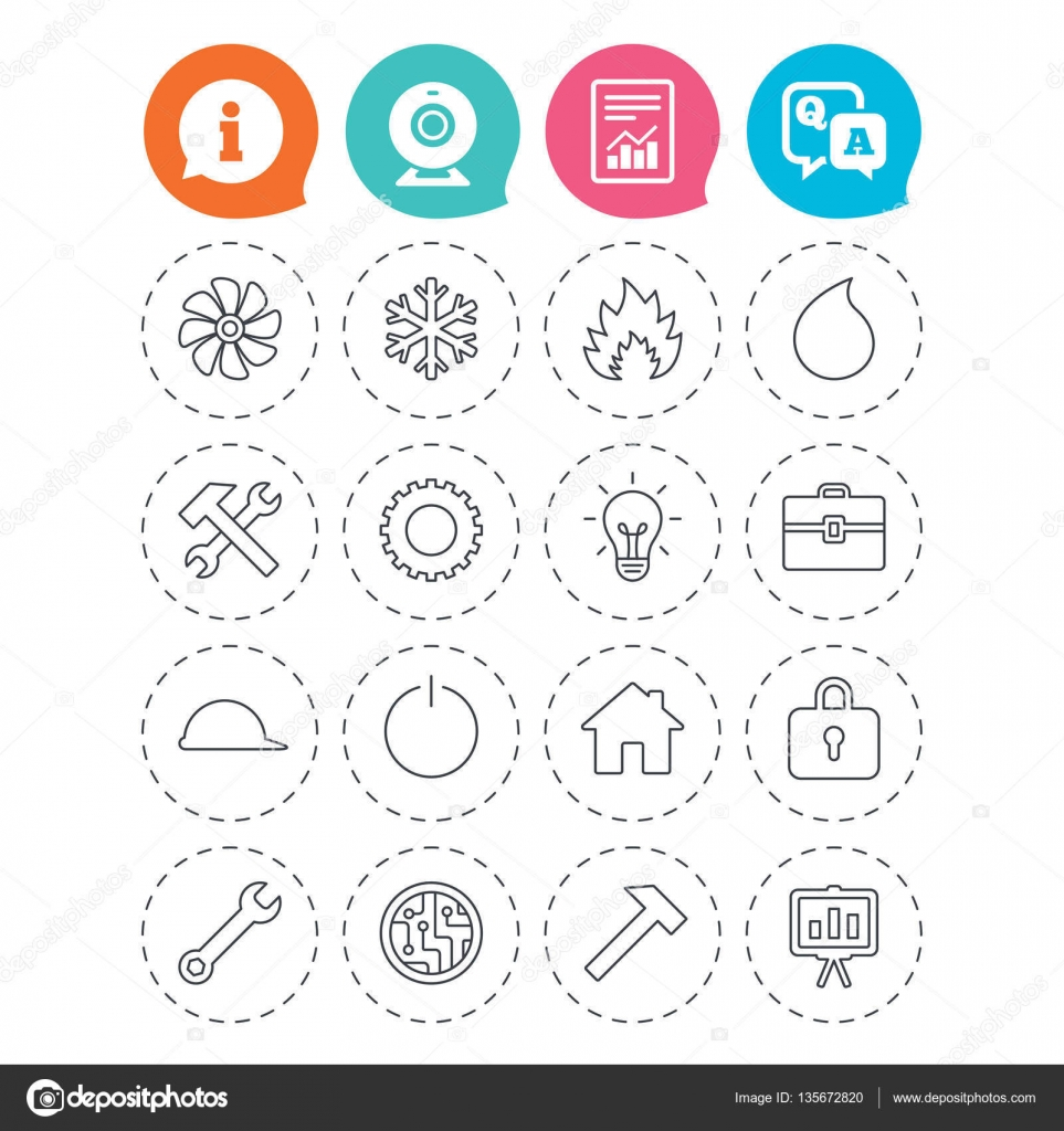 Lüftung, Wärme- und Klimaanlagen-Symbole — Stockvektor © Blankstock ...
