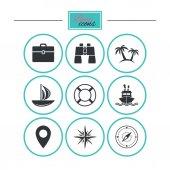 Výletní cesty, lodí a jachet ikony. Cestovní známky