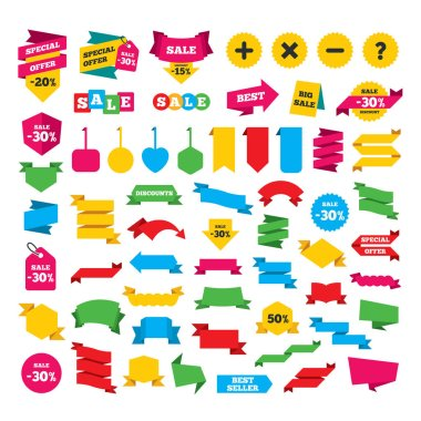 Web stickers, banners and labels. Plus and minus icons. Delete and question FAQ mark signs. Enlarge zoom symbol. Special offer tags. Vector clip art vector