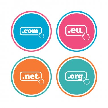 Top-level internet domain icons. Com, Eu, Net and Org symbols with hand pointer. Unique DNS names. Colored circle buttons. Vector illustration clip art vector