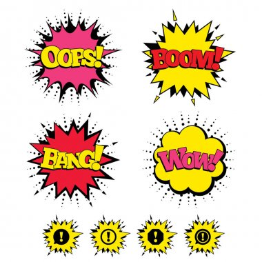 Attention icons. Exclamation speech bubbles