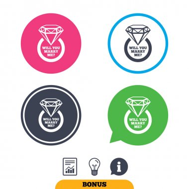 Marry me ring sign icons. Engagement symbol.