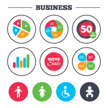 Set of business icons. Business pie chart. Growth graph. Smartphone icons. Shield protection, repair, software bug signs. Vector illustration clip art vector