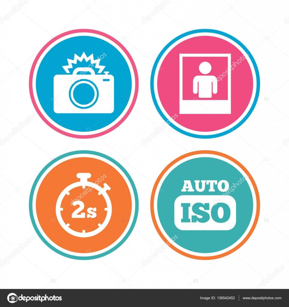 Foto-Kamera-Icon. Blitzlicht und Auto-Iso — Stockvektor © Blankstock ...