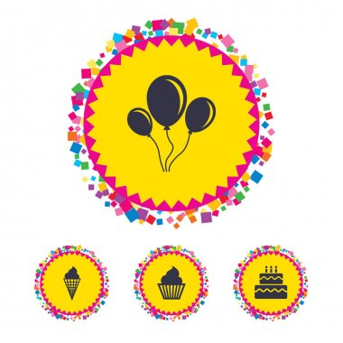 Web buttons with confetti pieces