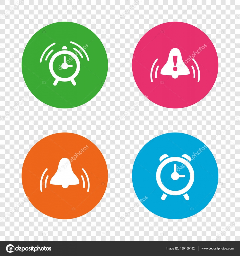 Alarm clock icons wake up bell signs symbols stock vector wake up bell signs symbols exclamation mark round buttons on transparent background vector vector by blankstock buycottarizona Choice Image