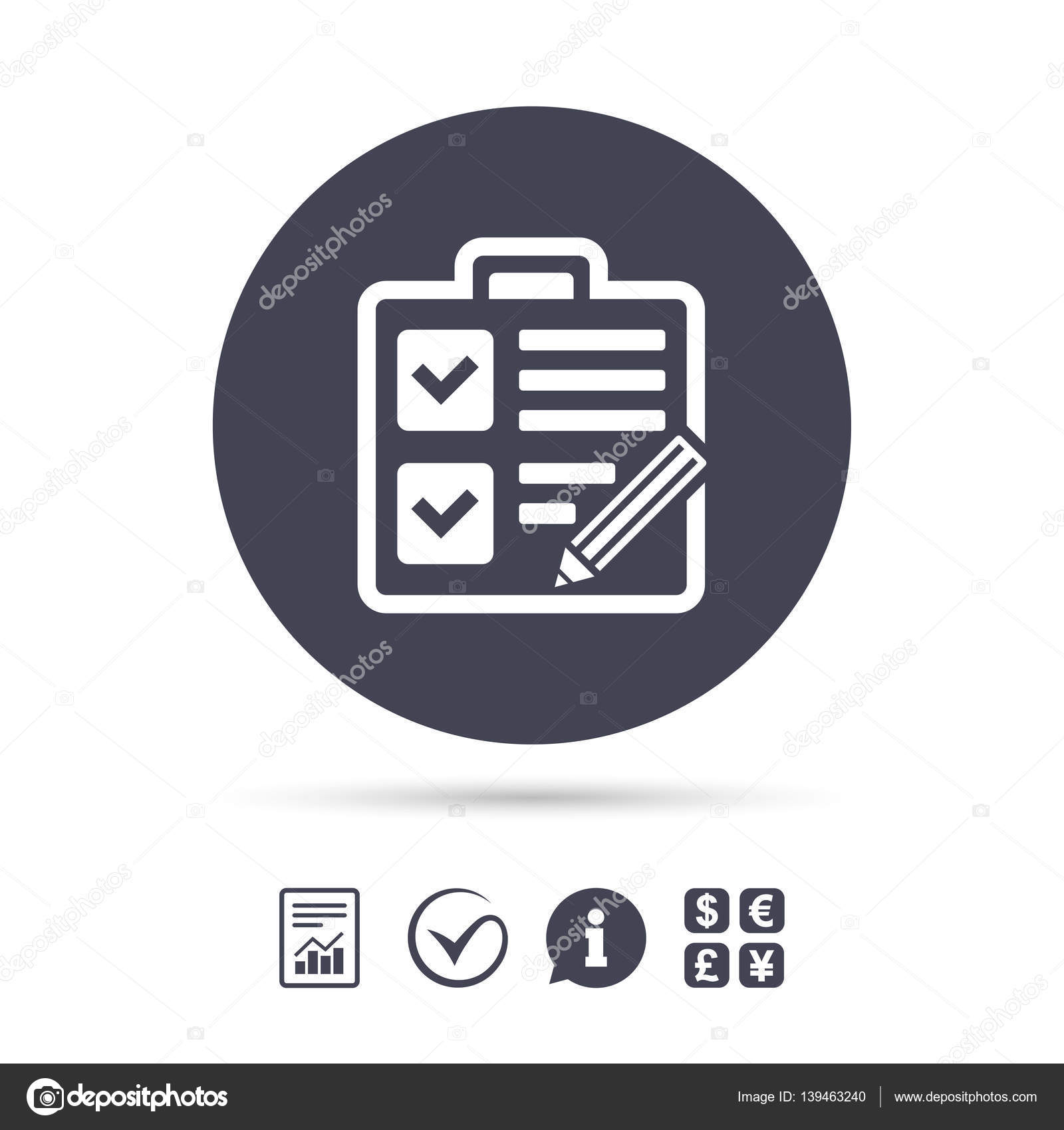 Checklist sign icon control list symbol stock vector control list symbol survey poll or questionnaire form report document information and check tick icons currency exchange vector vector by blankstock biocorpaavc