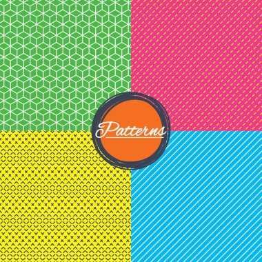 Cubes, dashed diagonal lines seamless textures.