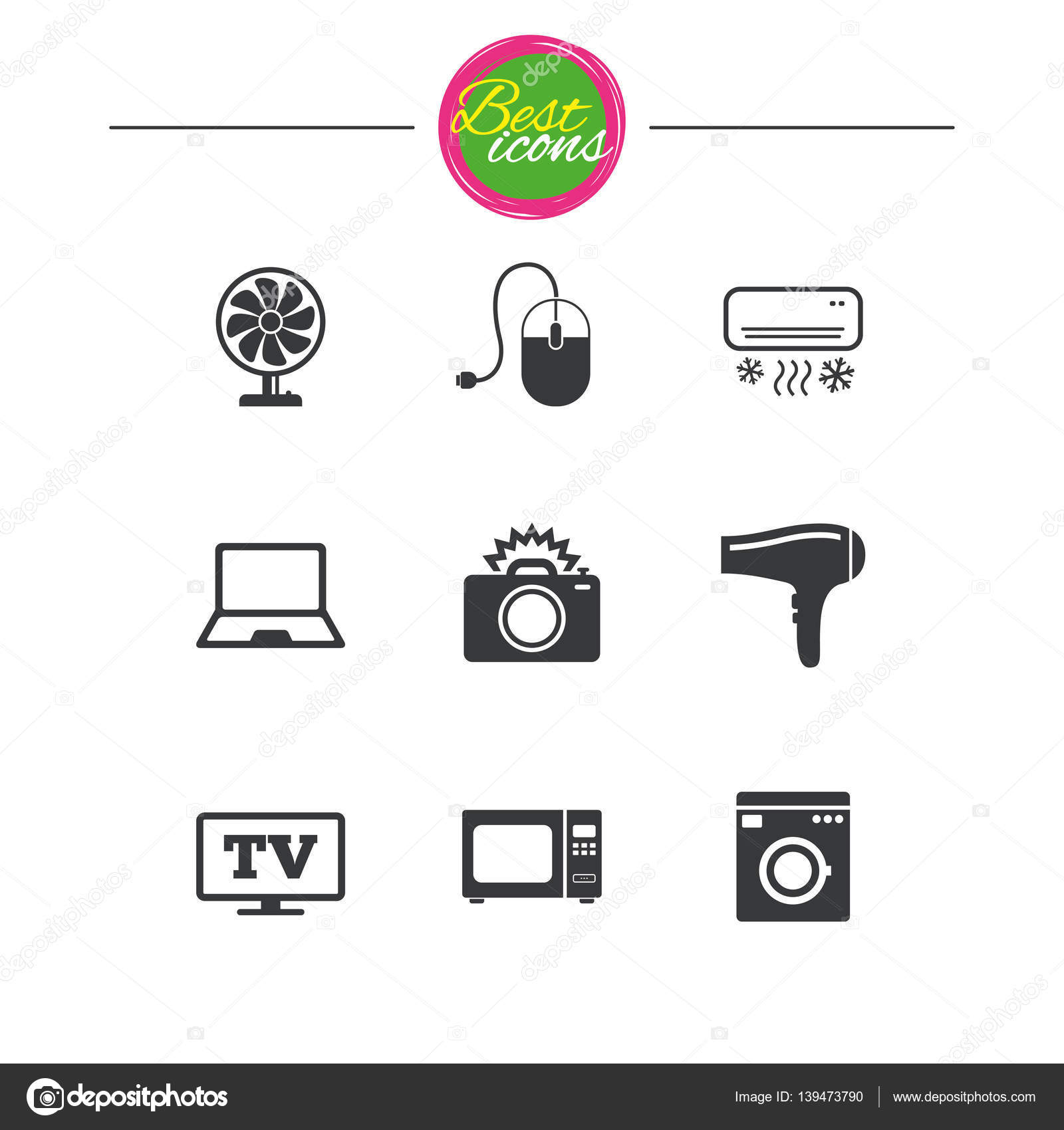 Home appliances, device icons. Electronics sign. — Stock Vector ...