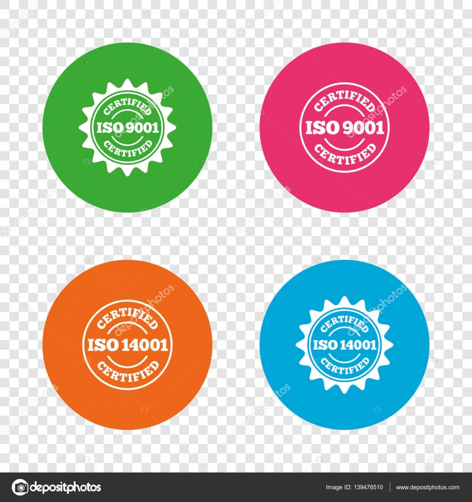 Iso 9001 and 14001 certified icon certification stock vector certification star stamps symbols quality standard signs round buttons on transparent background vector vector by blankstock buycottarizona