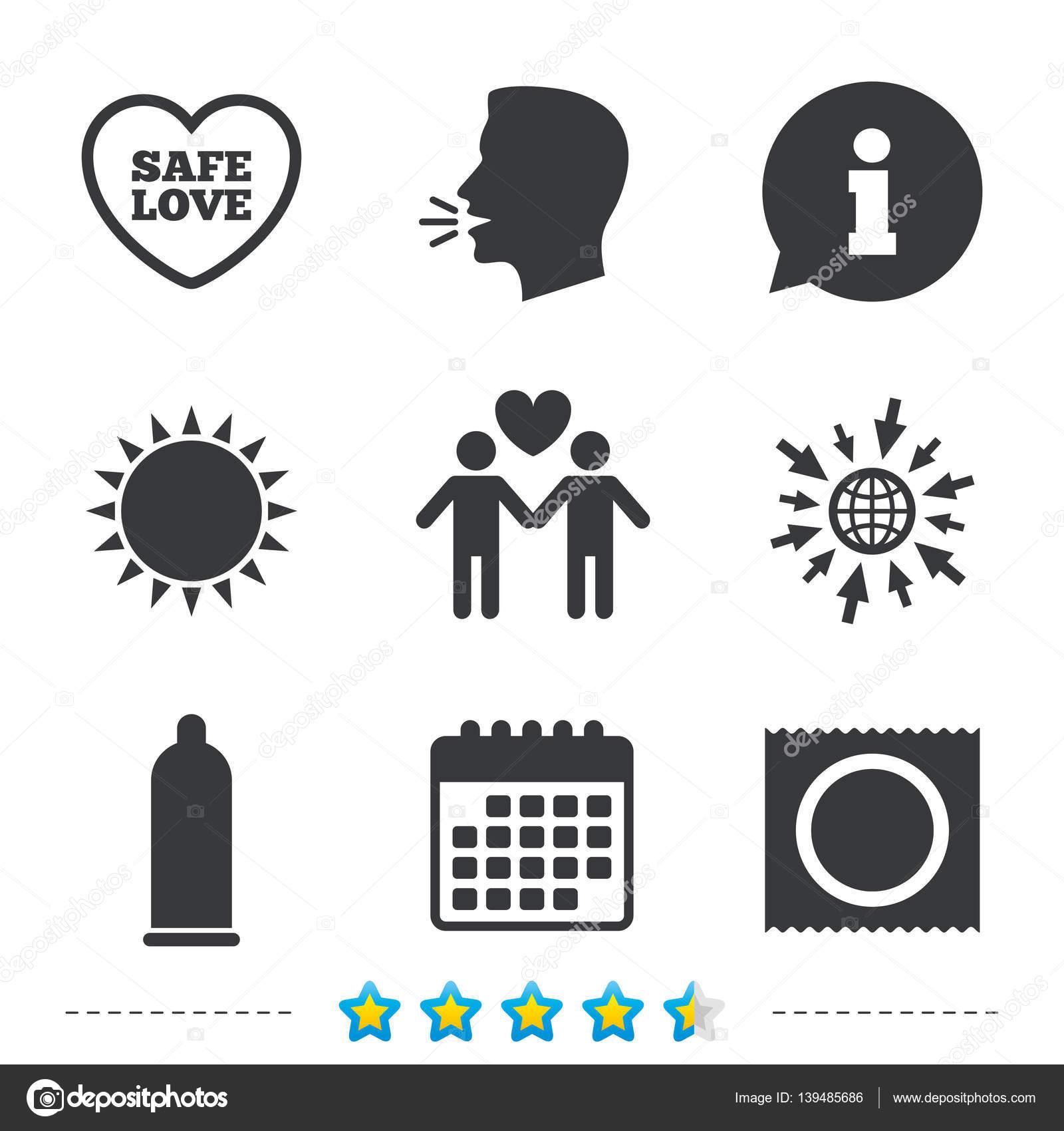 Condom Safe Sex Icons Vector Photo