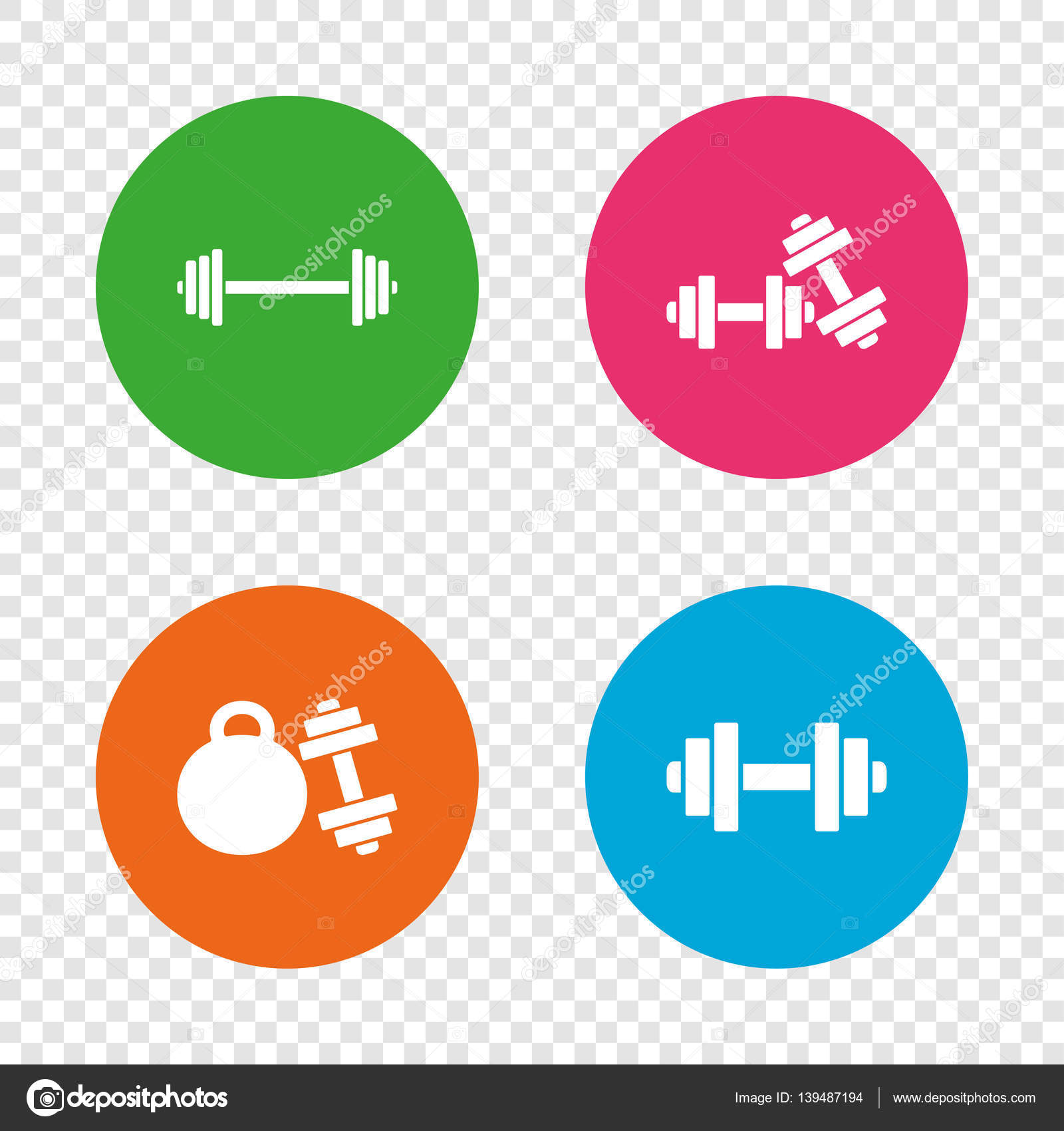 Dumbbells icons fitness sport symbols stock vector dumbbells sign icons fitness sport symbols gym workout equipment round buttons on transparent background vector vector by blankstock biocorpaavc