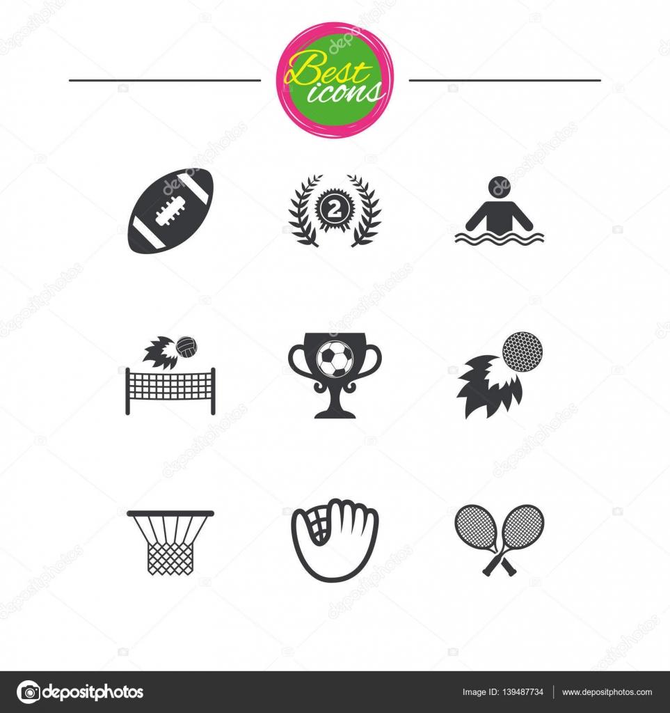 Sport Spiele Fitness Symbol Fussball Golf Stockvektor