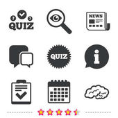 Fotografie Quiz icons. Checklist and human brain symbols.