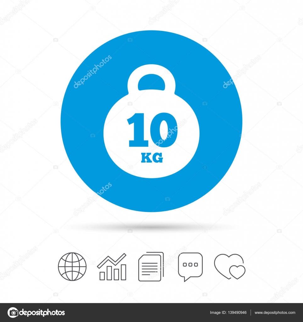 Weight Sign Icon 10 Kilogram Kg Sport Symbol Stock Vector