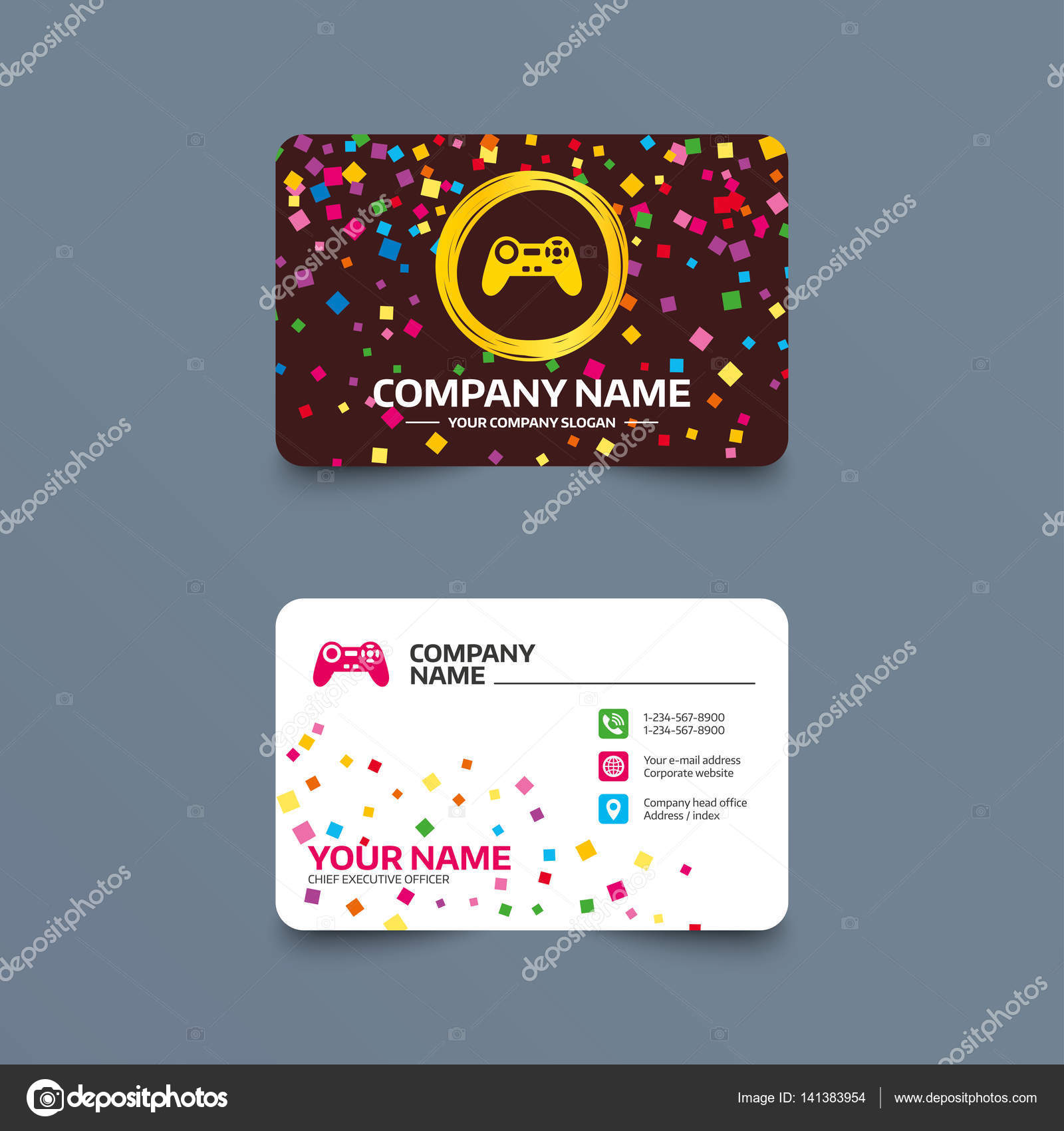 Business Card Template With Confetti Stock Vector Blankstock