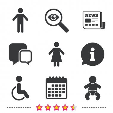 WC toilet icons with Human male or female signs, Vector clip art vector
