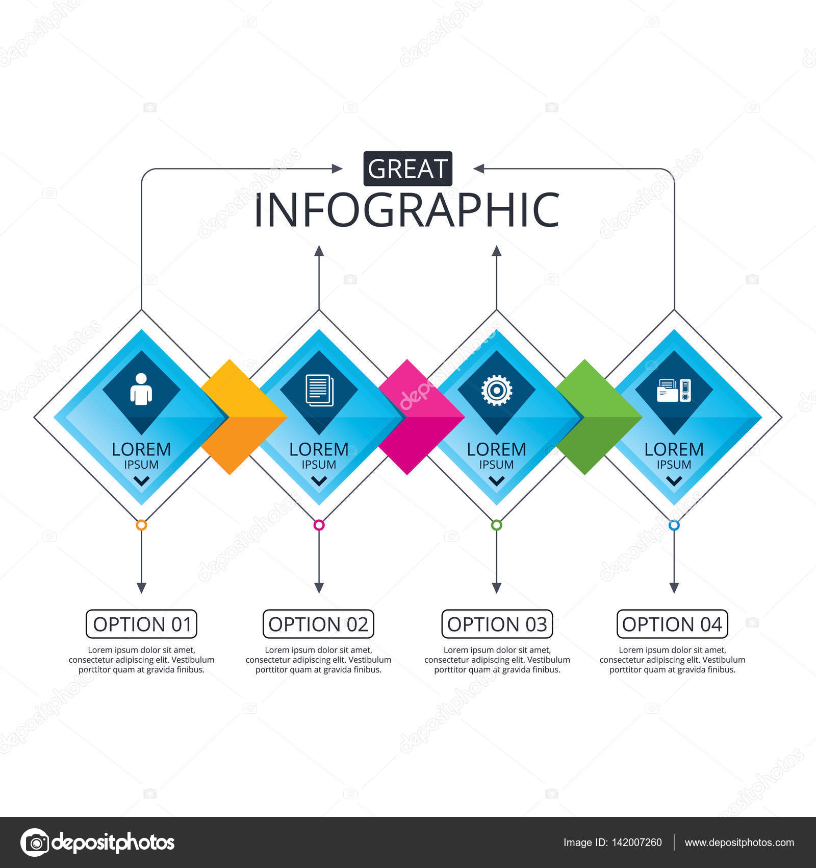 Infographic flowchart template stock vector blankstock 142007260 infographic flowchart template business diagram with options accounting workflow icons human silhouette cogwheel gear and documents folders signs geenschuldenfo Choice Image