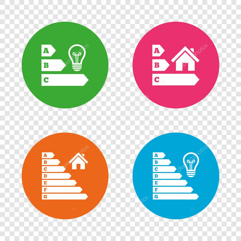energy efficiency icons lamp bulb and house building sign symbols round buttons on transparent background vector premium vector in adobe illustrator ai ai format encapsulated postscript eps eps format wdrfree