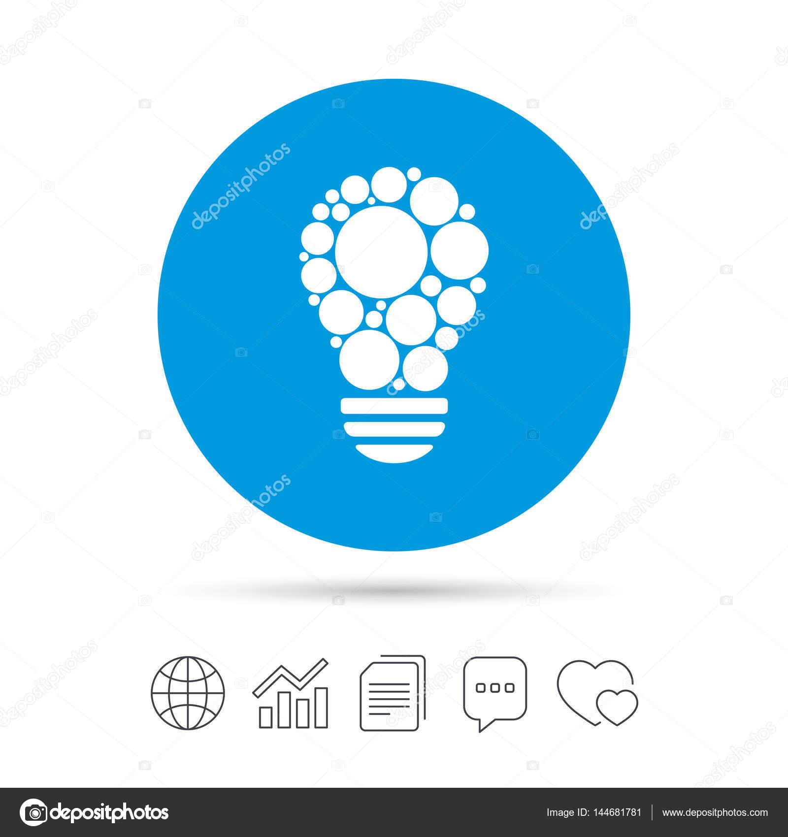Leuchte Zeichen Symbol. Birne mit Kreisen-symbol — Stockvektor ...