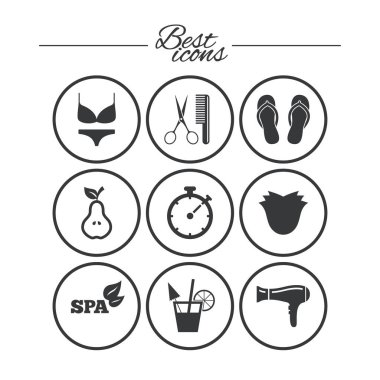 Hairdresser, spa icons set
