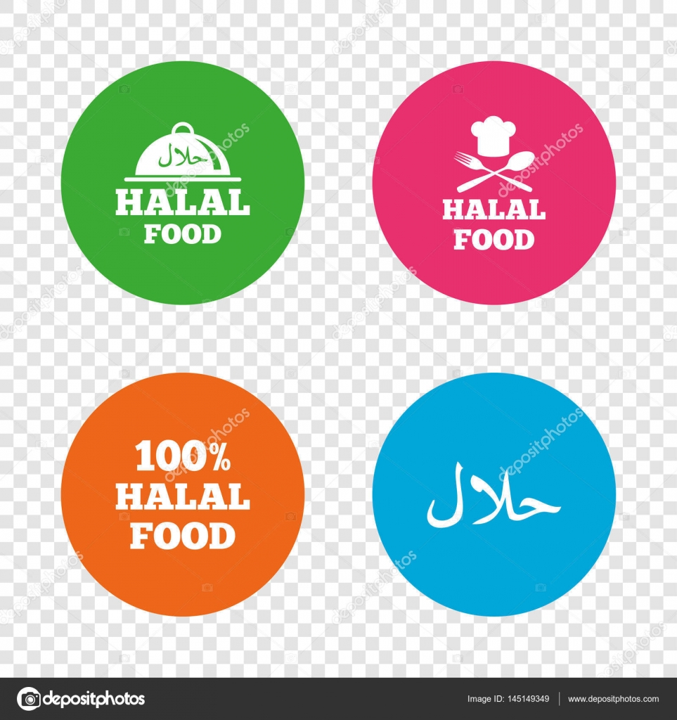 Halal food icons stock vector blankstock 145149349 halal food icons 100 natural meal symbols chef hat with spoon and fork sign natural muslims food round buttons on transparent background buycottarizona
