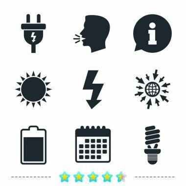 Electric plug icons set