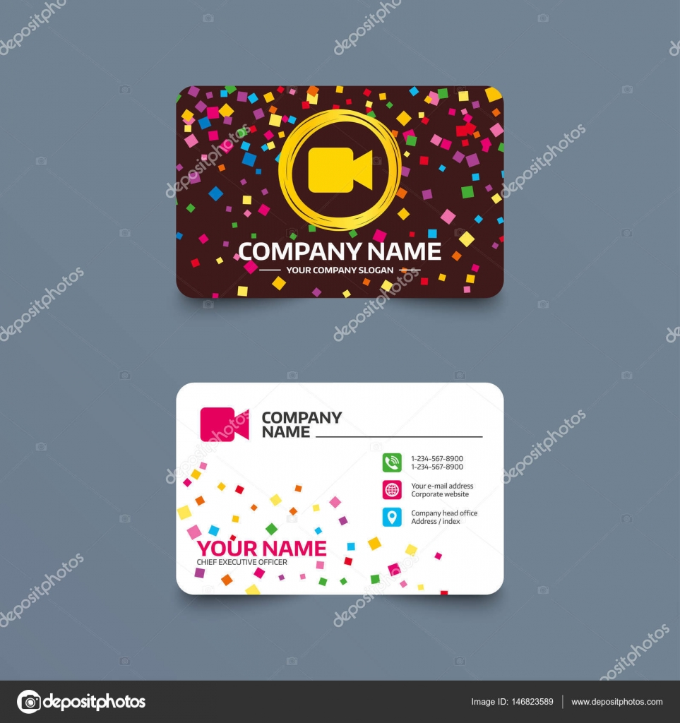Business card template with Video camera — Stock Vector © Blankstock ...