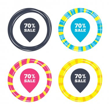 70 percent sale pointer tags