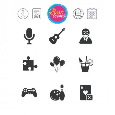Game, bowling and puzzle icons