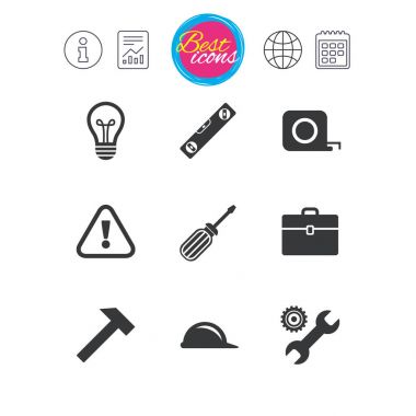 Information, report and calendar signs. Repair, construction icons. Engineering, helmet and screwdriver signs. Lamp, electricity and attention symbols. Classic simple flat web icons. vector illustration clip art vector