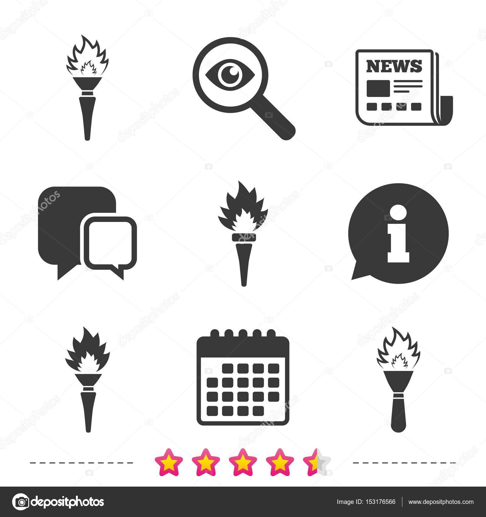 Torch flame icons  Fire flaming symbols  — Stock Vector © Blankstock