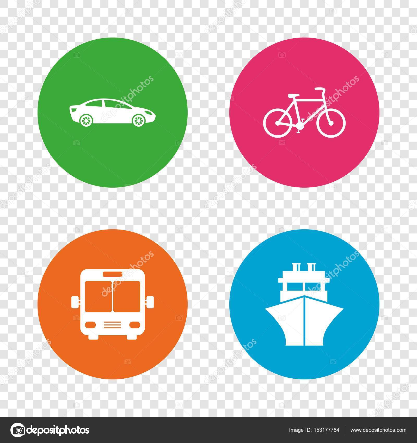Transport icons car bicycle bus and ship stock vector car bicycle public bus and ship signs shipping delivery symbol family vehicle sign round buttons on transparent background buycottarizona