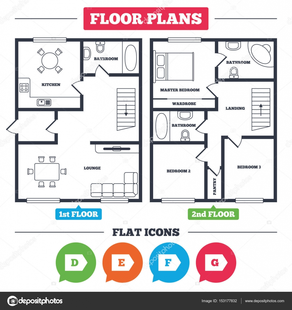 Captivating Architecture Plan With Furniture. House Floor Plan. Energy Efficiency Class  Icons. Energy Consumption Sign Symbols. Class D, E, F And G. Kitchen, ...