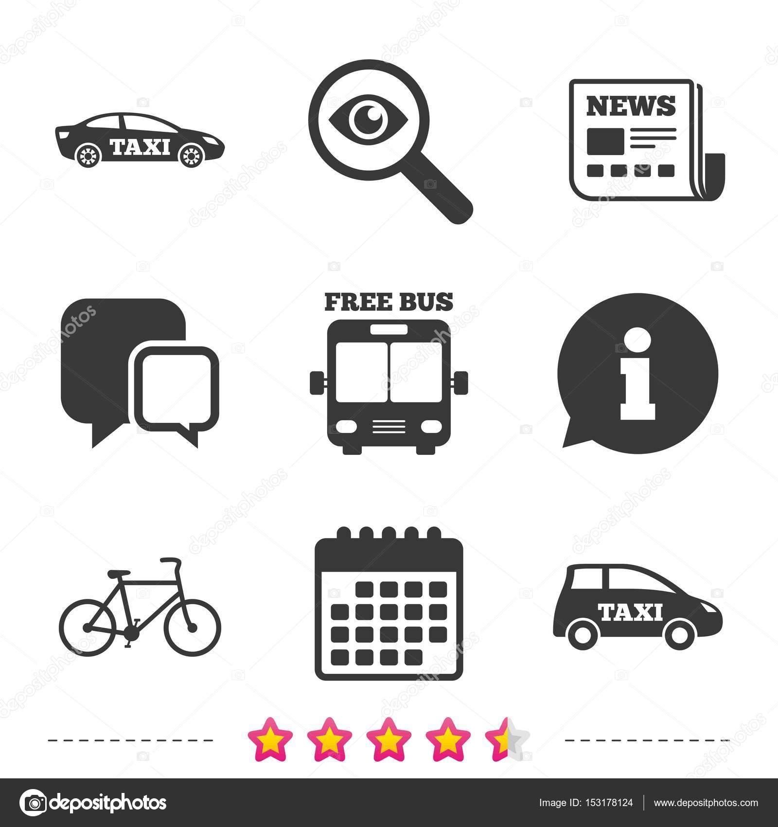 公共交通機関アイコン。無料バス、自転車標識 — ストックベクター