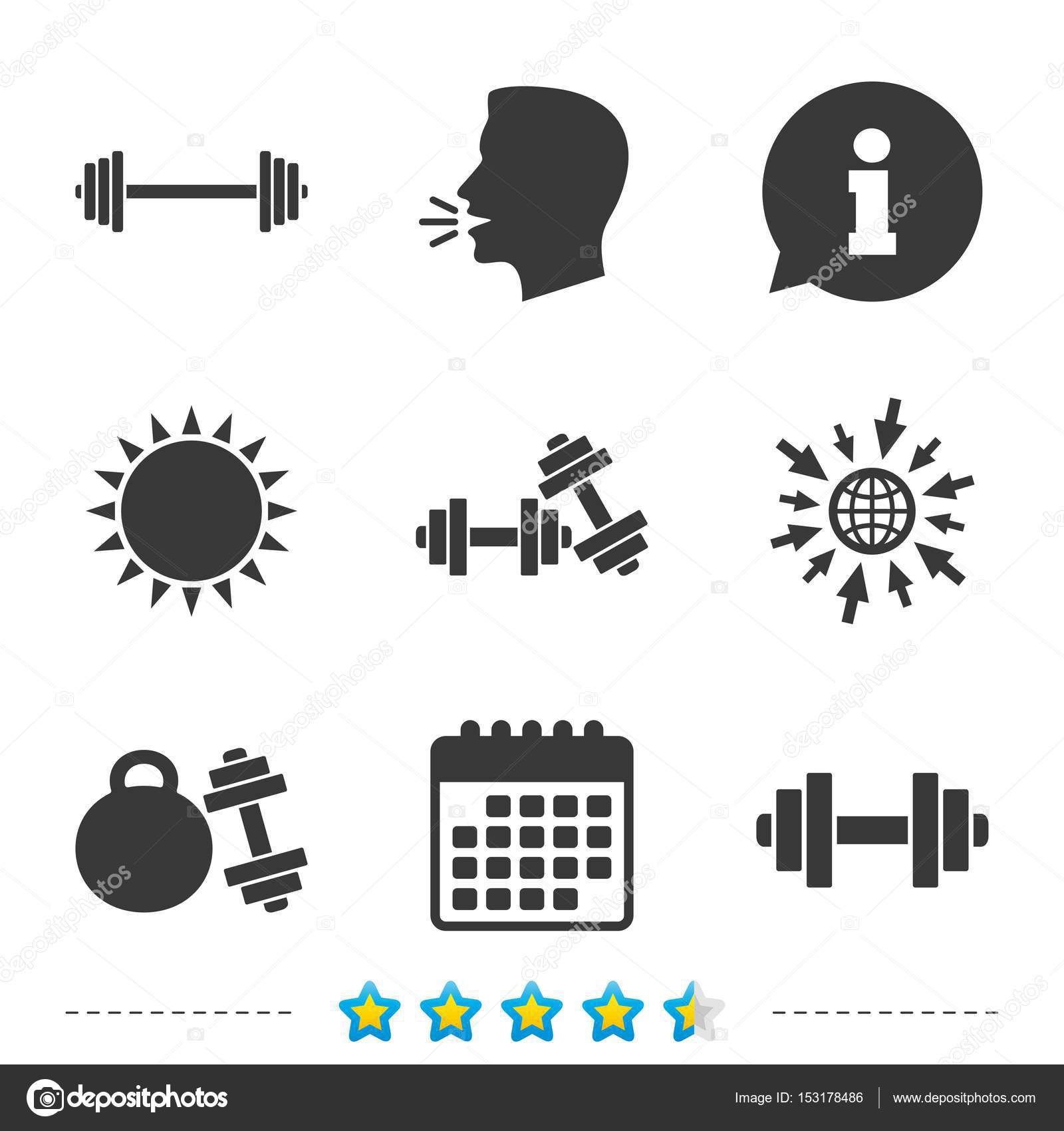 Dumbbells icons fitness sport symbols stock vector dumbbells sign icons fitness sport symbols gym workout equipment information go to web and calendar icons sun and loud speak symbol biocorpaavc