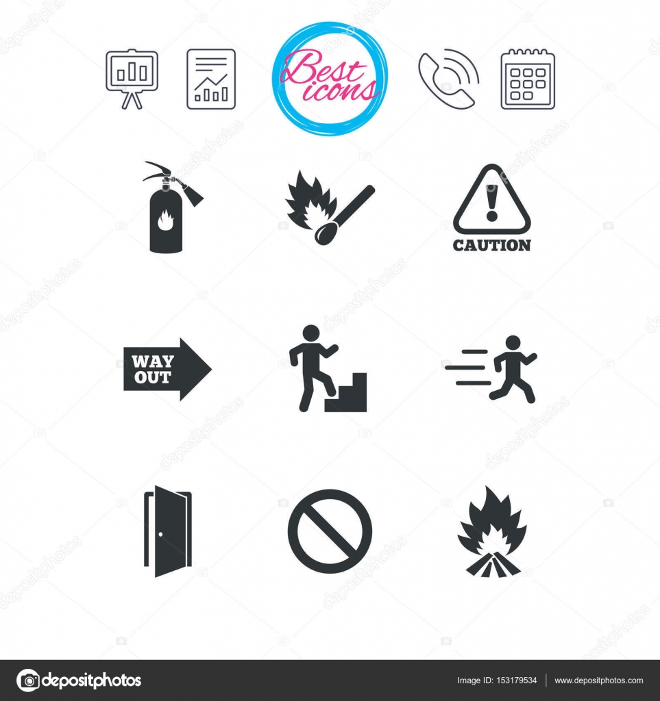 fire safety icons stock vector blankstock 153179534