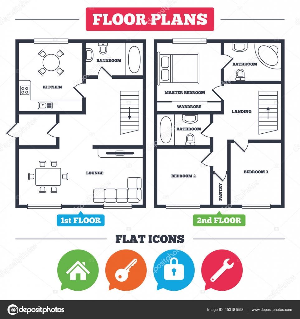 Elegant Architektur Plan Mit Möbeln. Haus Grundriss. Home Schlüssel Symbol.  Schlüssel Dienst Werkzeug Symbol. Spind Sign. Hauptseite Web Navigation.