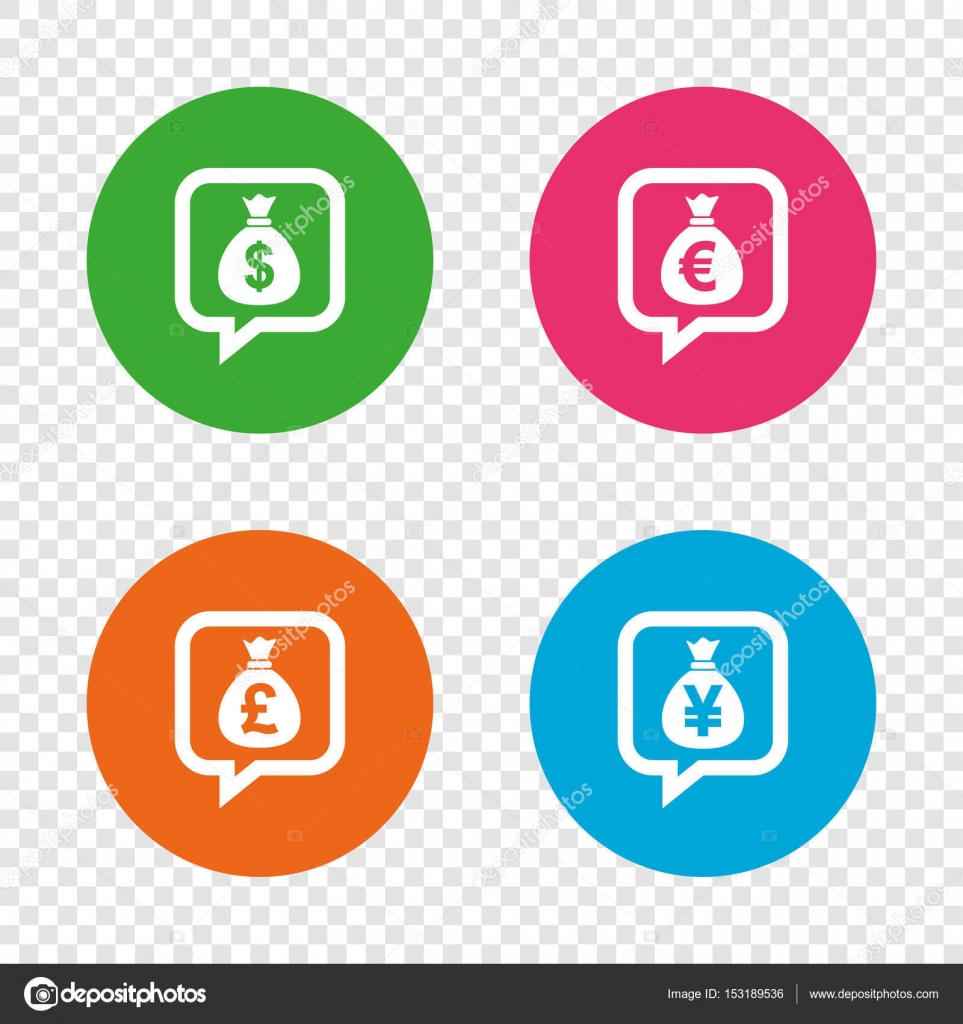 Money bag icons dollar euro pound and yen stock vector money bag icons dollar euro pound and yen speech bubbles symbols usd eur gbp and jpy currency signs round buttons on transparent background biocorpaavc Gallery