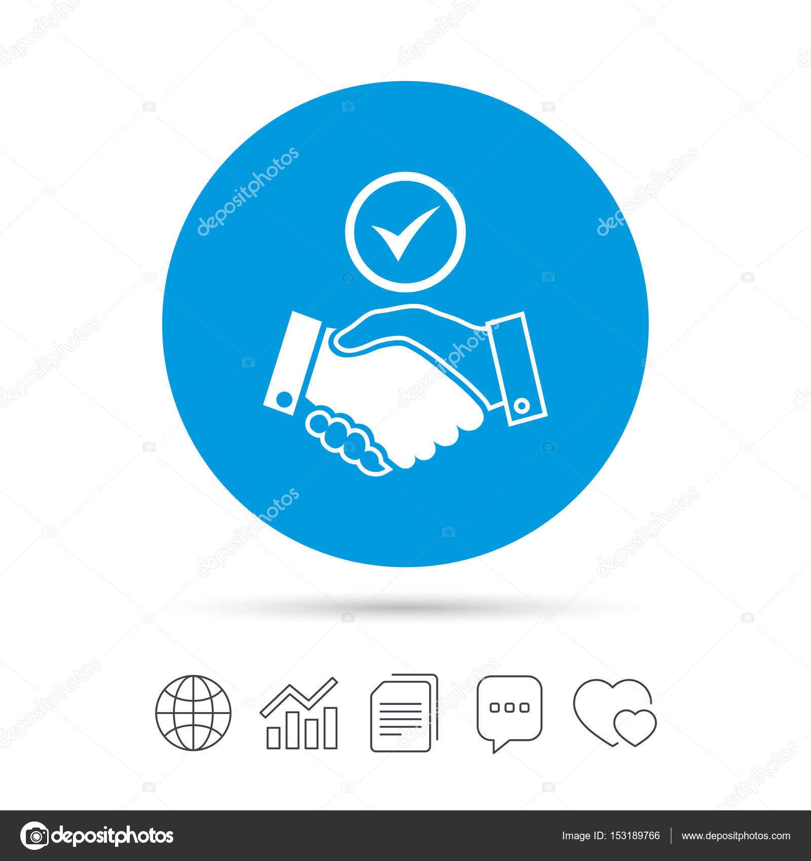 Tick Handshake Sign Icon Stock Vector Blankstock 153189766