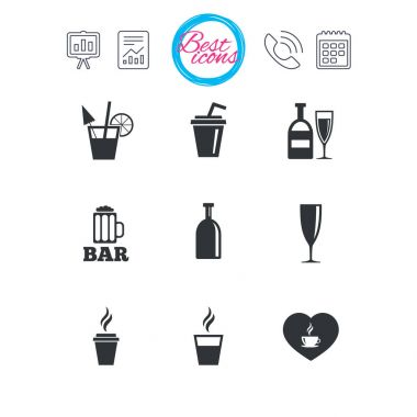 Beer, coffee and tea icons
