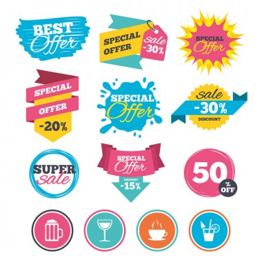 Sale banners, online web shopping. Drinks icons. Coffee cup and glass of beer symbols. Wine glass and cocktail signs. Website badges. Best offer. Vector clip art vector